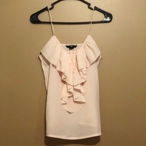 Pink Blouse With Ruffled Front